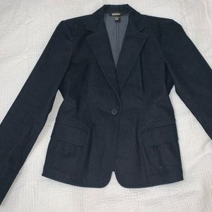 DKNY navy denim like blazer